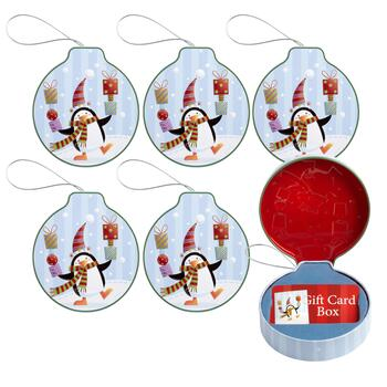 Penguin Hanging Gift Card Holder Tins 6 Piece Christmas Tree