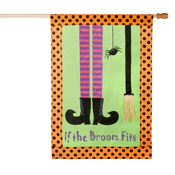 "28""x40"" ""If the Broom Flies"" Yard Flag"