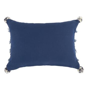 Blue Boho Chic Fringe Throw Pillow view 2
