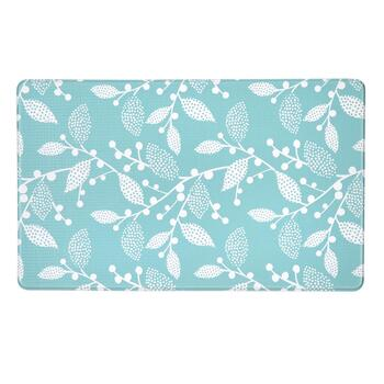 Blue/White Leaves Cushioned Floor Mat