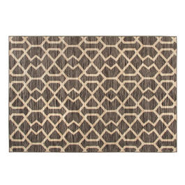 Gray/Tan Geometric Printed Loop Area Rug view 1