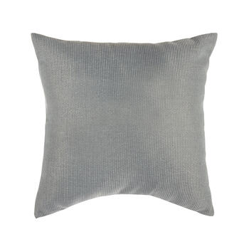Solid Gray Woven Indoor/Outdoor 3-Button Square Throw Pillow view 2