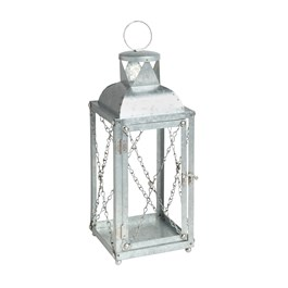 "15"" Galvanized Metal Lantern with Chains view 1"
