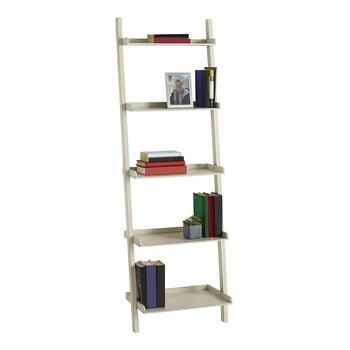 White 5 Tier Ladder Bookcase