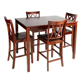Walnut X-Back High Top Dining Table and Chairs Set, 5-Piece
