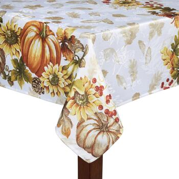 Pumpkin and Sunflowers Tablecloth