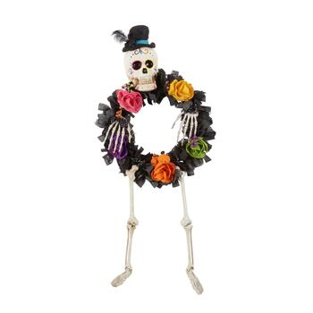 "42.5"" Day of the Dead Skeleton with Burlap Wreath"