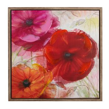 "24"" Red Flowers Framed Wall Art"