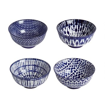 Blue/White Patterned Bowls, Set of 4