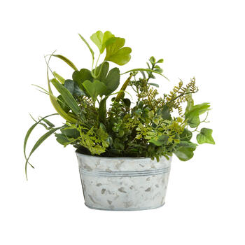 "11"" Artificial Ferns & Greenery in Galvanized Metal Pot view 1"