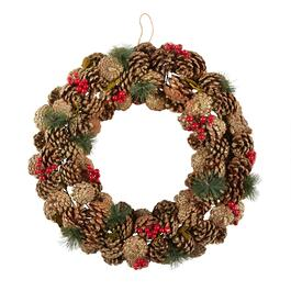 "19"" Pinecone and Berries Artificial Twig Wreath"