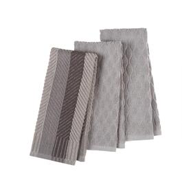 Gray Crisscross Pattern Cotton Kitchen Towels, Set of 3
