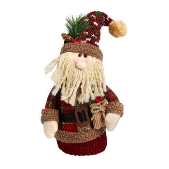 "20"" Plush Heavy Bottom Plaid Santa with Tree"