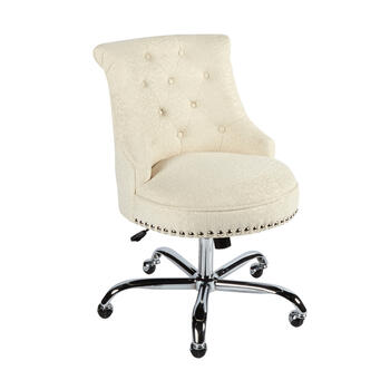 White Textured Upholstery Rolling Office Chair with Nailheads view 1