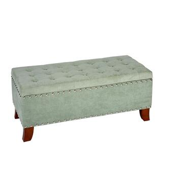 Kent Tufted Storage Ottoman with Nailheads