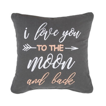 "Gray ""To the Moon and Back"" Square Throw Pillow view 1"