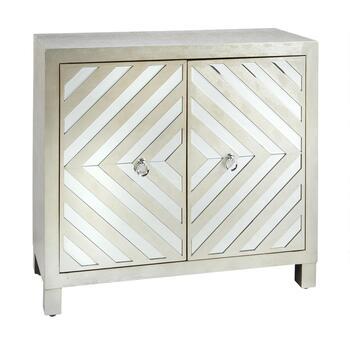Silver 2 Door Diamond Mirrored Cabinet