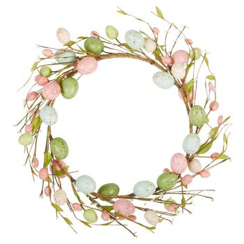 "15"" Pink/Green Speckled Eggs Wreath"