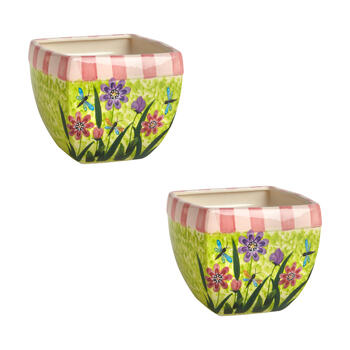 "6.5"" Pink/Green/Purple Flowers Square Planters, Set of 2 view 1"