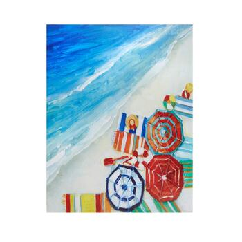 "22""x28"" Painted Beach Umbrellas Canvas Wall Art"