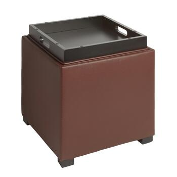 Faux Leather Square Ottoman with Tray Top view 2