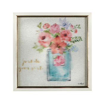 "13"" ""Just Do Your Best"" Blue Vase Framed Square Wall Decor view 1"