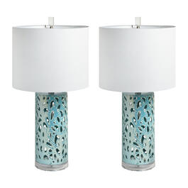 "26"" Coral Ceramic Table Lamps, Set of 2 view 1"