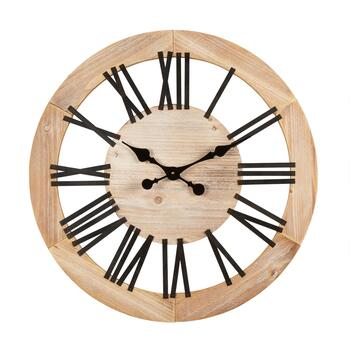 "28"" Open Face Round Wood/Metal Wall Clock"