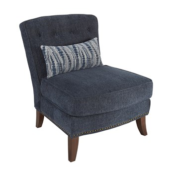 Thane Blue Upholstered Nailhead Chair with Pillow view 1