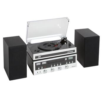 Bluetooth® Turntable/CD Player Music Shelf System with Speakers