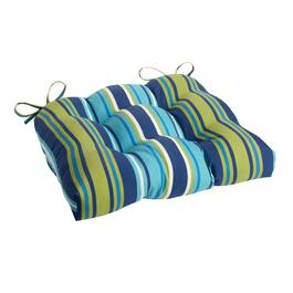 Blue/Green Striped Indoor/Outdoor Single-U Seat Pad