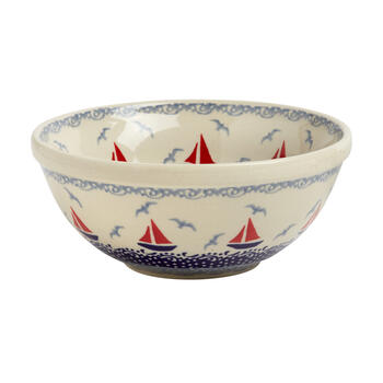 Polish Pottery Blue Nautical Boats Handmade Mixing Bowl view 1