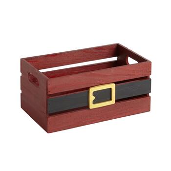 Santa Belt Wood Plank Storage Crate