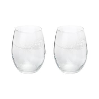 20-Oz. Peacock Feather Stemless Wine Glasses, Set of 2
