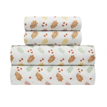 Flannel Rooster™ Warm Leaves & Acorns Sheet Set