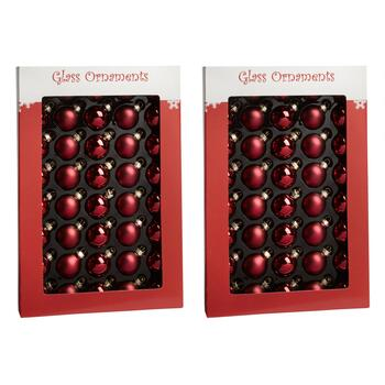 40-Count Dark Red Matte/Shiny Glass Ornaments, Set of 2