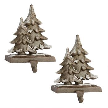 Snowy Trees Metal Stocking Holders, Set of 2
