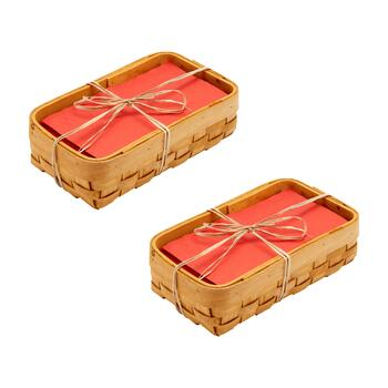 Wood Chip Napkin Baskets, Set of 2