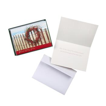 Berry Wreath Seaside Holiday Card Boxes, Set of 2