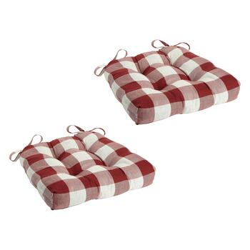 Buffalo Check Square Seat Pads, Set of 2
