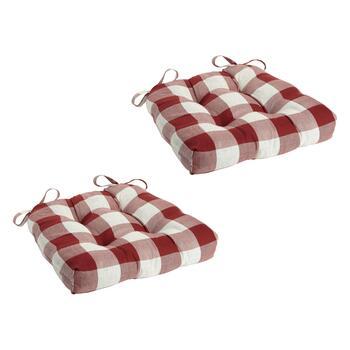 Buffalo Check Square Chair Pads Set Of 2 Christmas Tree
