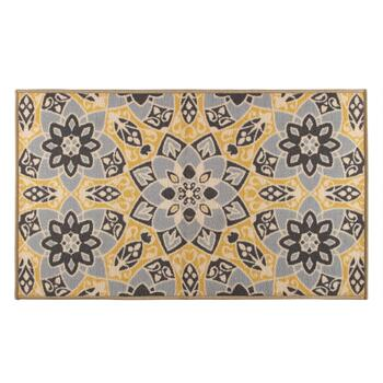 "26""x45"" Yellow Floral Kaleidoscope Accent Rug"