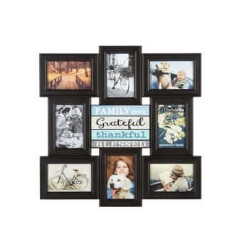 "20.5"" ""Grateful, Thankful, Blessed"" 8-Opening Photo Frame Wall Collage"