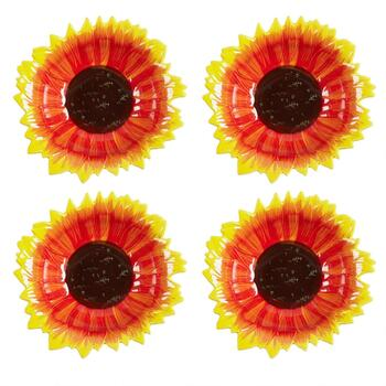 Red/Yellow/Brown Sunflower Ceramic Soup Bowls, Set of 4
