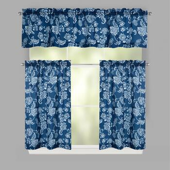 Blue Floral Microfiber Window Tier & Valance Set