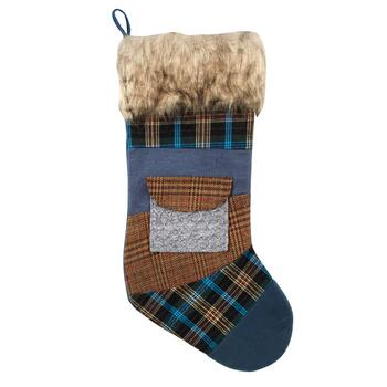 Blue/Brown Plaid Knit Pocket Stocking with Faux Fur Cuff