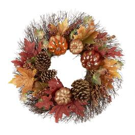 "22"" Glitter Pumpkins and Pinecones Artificial Twig Wreath"