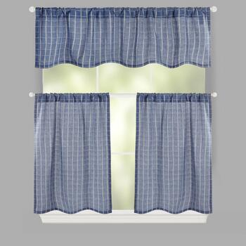 Plaid Woven Rod Pocket Window Tier & Valance Set