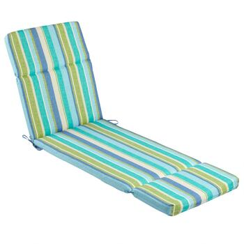 Green/Blue Striped Indoor/Outdoor Hinged Chaise Chair Pad