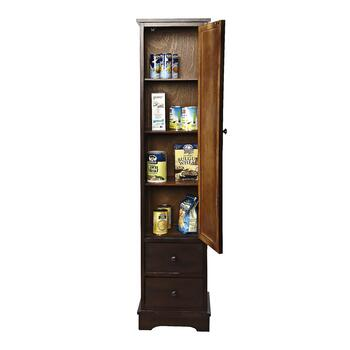 Walnut Pantry Closet with Door and Drawers view 2